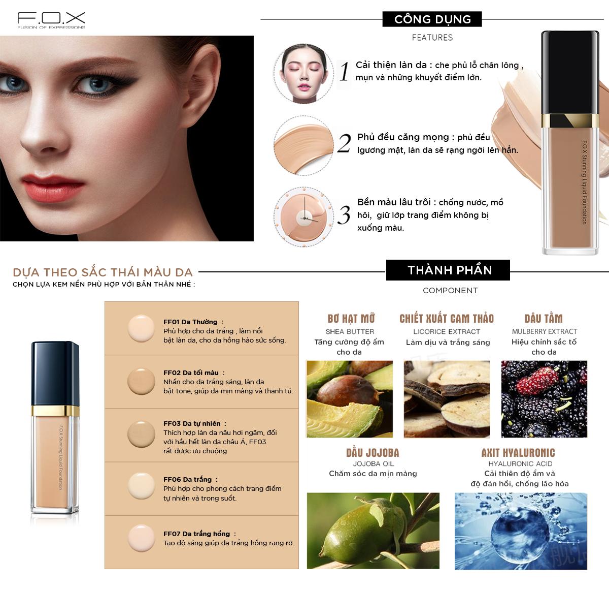 Kem Nền FOX Stunning Liquid Foundation SPF 30++ Dưỡng Ẩm Làm Sáng Da 30ml -  Fox Website