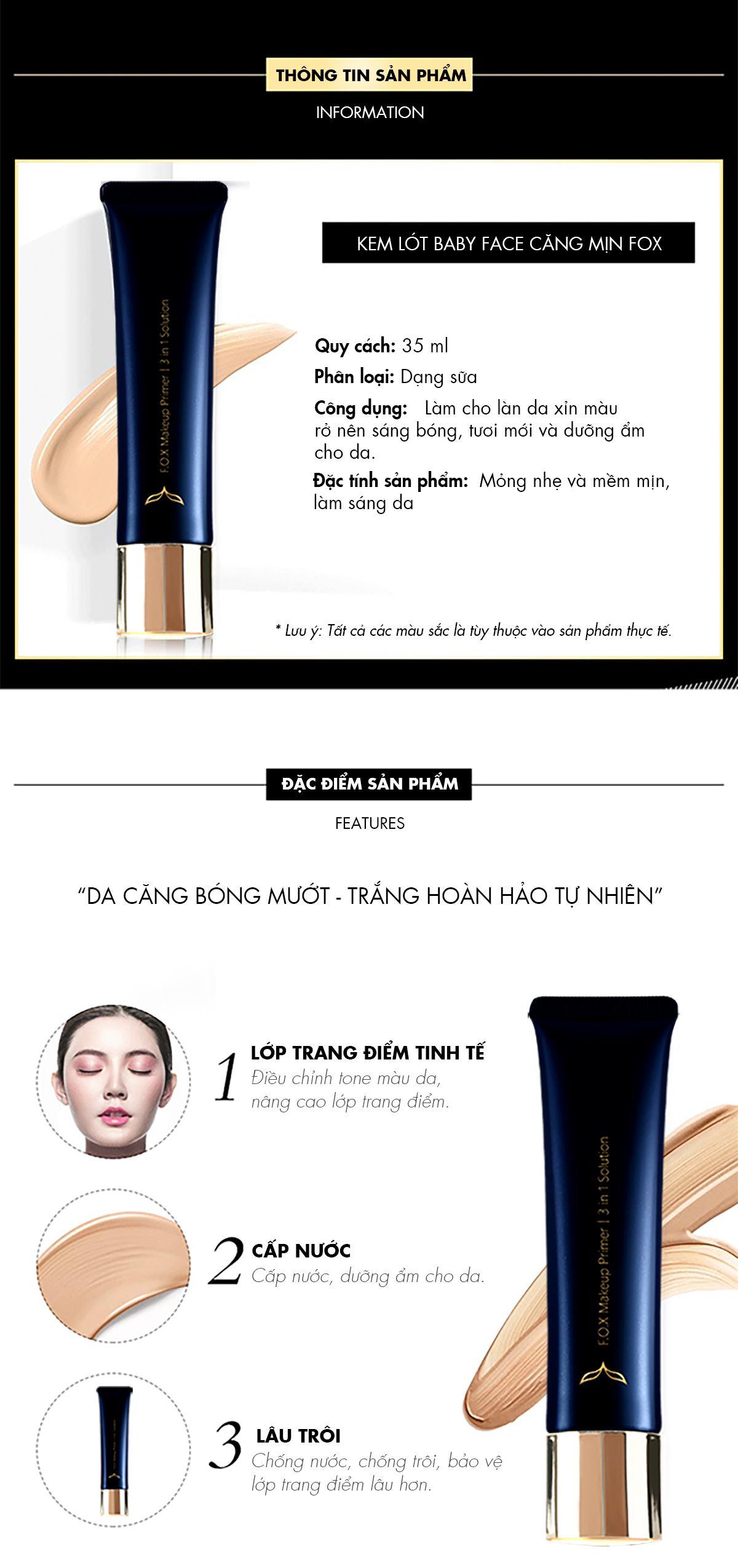 Đặc Tính Kem Lót Makeup Primer 3 In 1 Solution