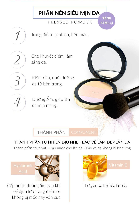 Phấn Nén Pressed Powder Siêu Mịn 12g Và Cọ Đa Chức Năng - Fox Website