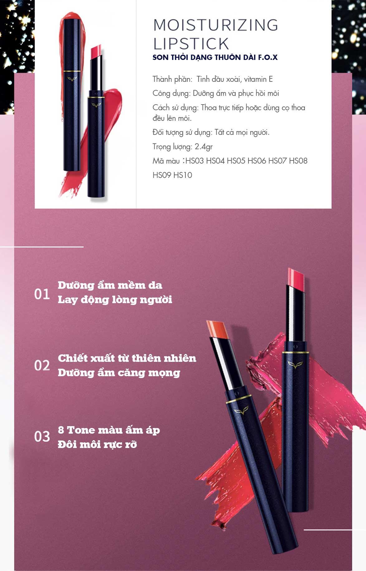 Son Thỏi Dạng Thuôn Dài FOX Moisturizing Lipstick 2.4g