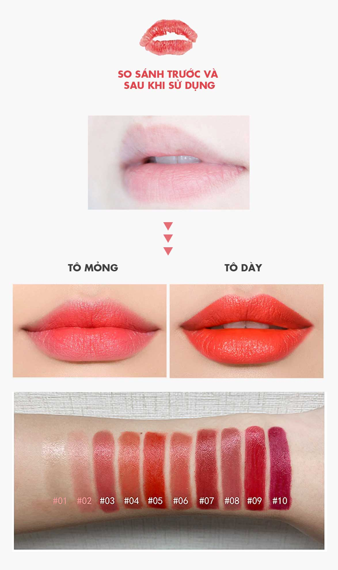 So Sánh Trước Sau Khi Dùng Son Thỏi Moisturizing Lipstick