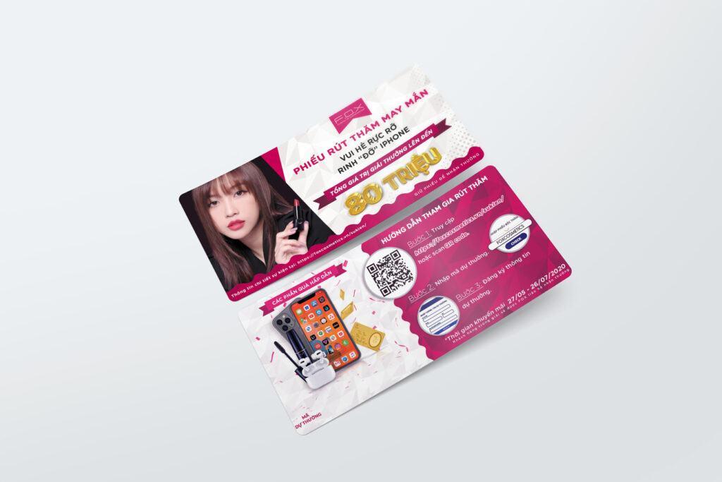 Phiếu tham gia bốc thăm may mắn nhận được tại các hệ thống đối tác FOX Cosmetics