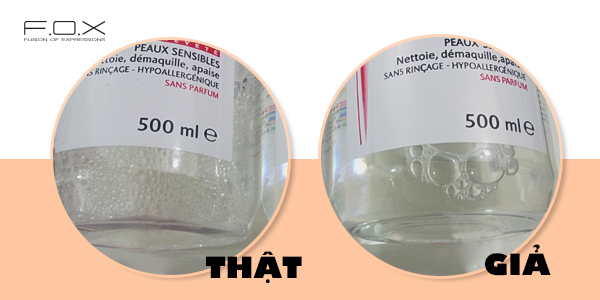 Phân biệt nước tẩy trang bioderma giả và thật nhờ vào bọt nước sau khi lắc