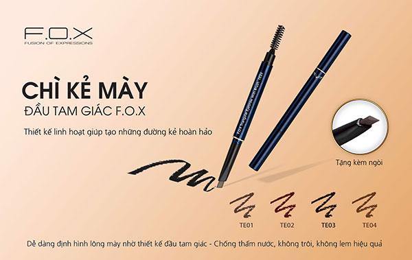 So sánh chì kẻ mày Innisfree Auto Eyebrow Pencil với chì kẻ mày Trigular Eyebrow của FOX