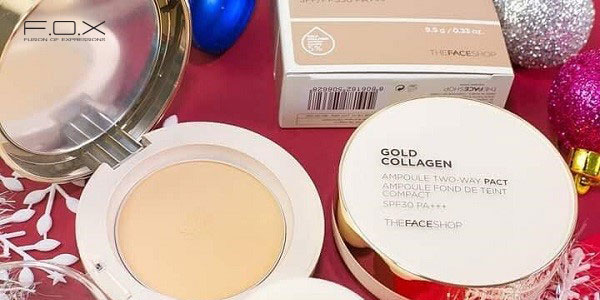 Phấn phủ kiềm dầu chống nắng Gold Collagen Ampoule Two-way Pact
