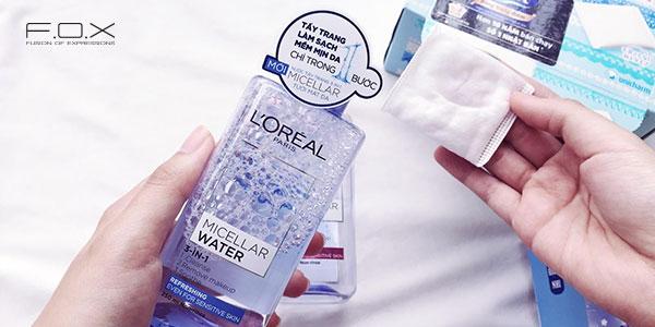 Nước tẩy trang cho da nhạy cảm giá rẻ L'Oreal Micellar Water 3-in-1 Refreshing Even For Sensitive Skin