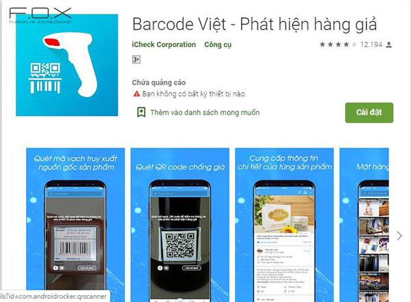 Phần mềm check mã vạch mỹ phẩm online BarcodeViet