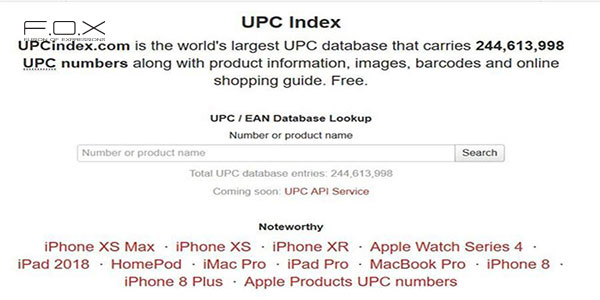 Website check mã vạch UPC Index